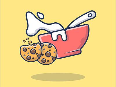 Breakfast Menu, Cookies, And Cereal Milk Oats  🍪🥣🍞 🥖🥛 website landingpage flat flat design illustration design cartoon morning oatmeal splash breakfast club milkshake granola cereal box cereals oats milk cereal cookies breakfast