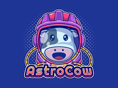 Astro Cow Mascot Logo flatdesign expression cute mascot character astro milk animal mascot icon logo illustration dairy cow joviming astrocow astronaut cartoon