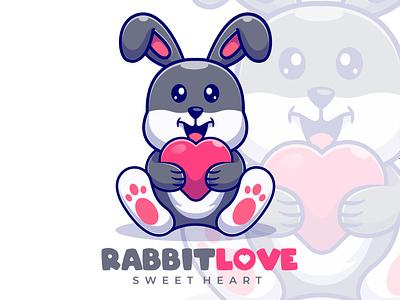 Rabbit Love Mascot Logo joviming logodesign bunny lovely sweetheart lover mascot icon flat logo vector design illustration cartoon rabbit illustration rabbits rabbit logo love rabbit