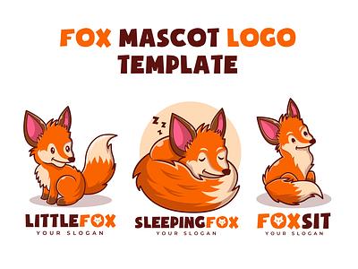 Cute Fox Mascot Cartoon Logo fox illustration element wild nature carnivore branding design logodesign joviming cute animal icon illustration cartoon template logo mascot cute fox