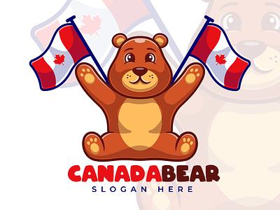 Brown Bear Cartoon Mascot Logo flat design canada canada day branding logo flat icon cartoon illustration design vector mascot brown bear logodesign joviming