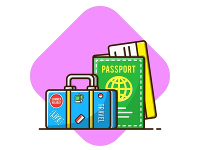 Passport and Suitcase for Travel