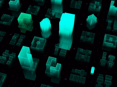 Smart city & Big data city motion 3d electric ai c4d animation ui