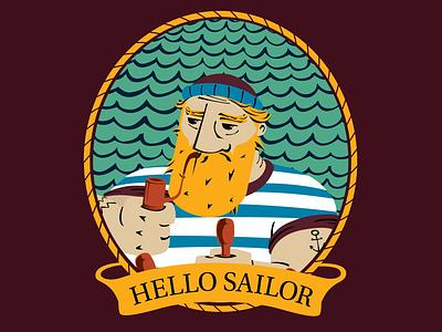 Hello Sailor Illustration sailorman viking beverage packaging design packaging illustration packaging danish beer label beer art beer sailor vector flat illustration design