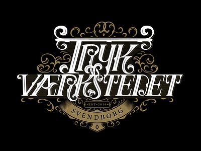 Trykværkstedet lettering custom type typedesign lettering art lettering design lettering type art type design type branding logo typography vector illustration design