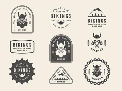 Bikings badge logo design nature outdoor badge outdoor logo bike biker icon badge branding logo typography vector flat design illustration