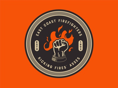 East Coast Firefighters illustration flame logo logodesign flame firefighters firefighter fire logo badges badge logo badge design badgedesign badge
