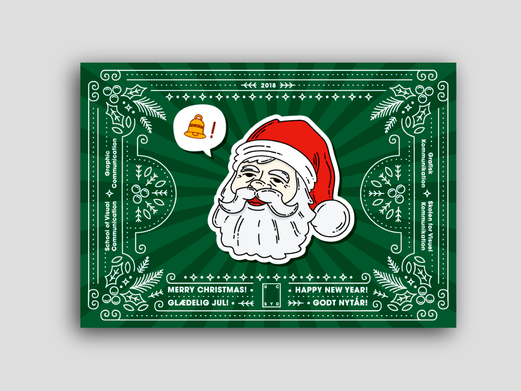 Christmas card for the School of Visual Communication christmas card illustration vector flat design