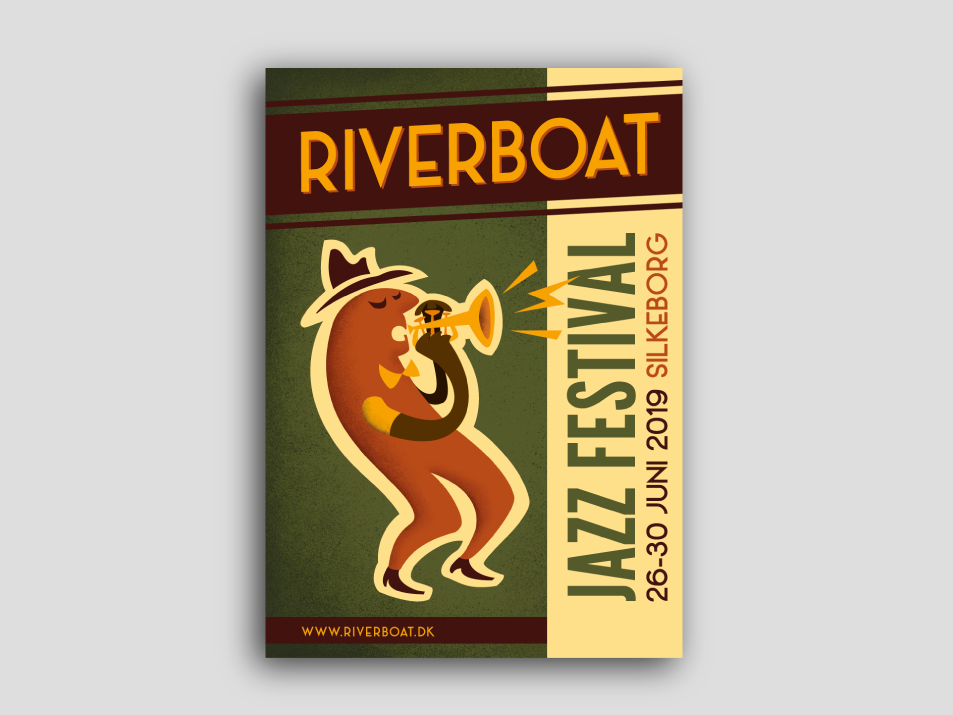 Riverboat Jazz Festival poster event branding poster poster art vector flat design illustration festival poster music poster