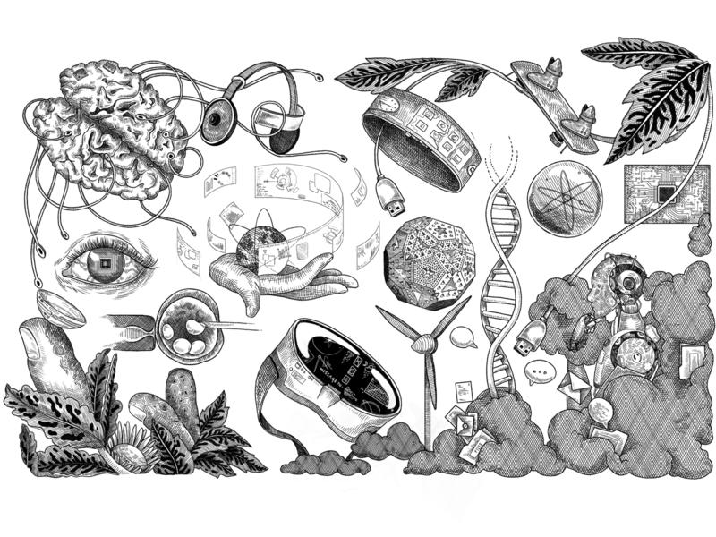 Chydenius media illustration virtualreality engraving futuristic media black and white lines illustration