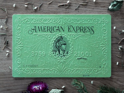 American Express Card art card lettering typography illustration embossing