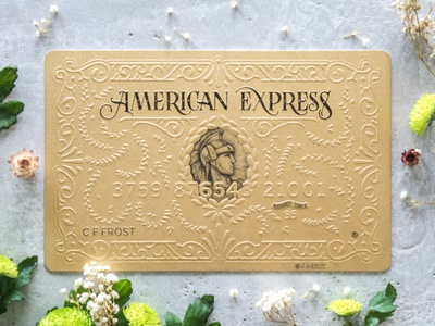 American express Gold Card art typography lettering illustration embossing card