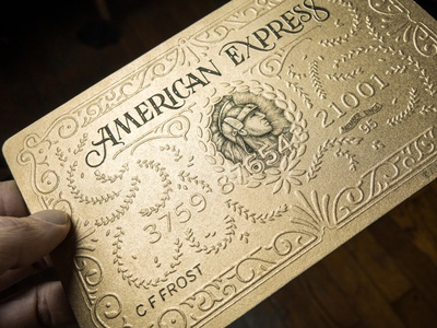 American express Goldcard Process typography lettering illustration embossing card
