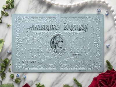 American express Platinum card typography lettering illustration embossing card