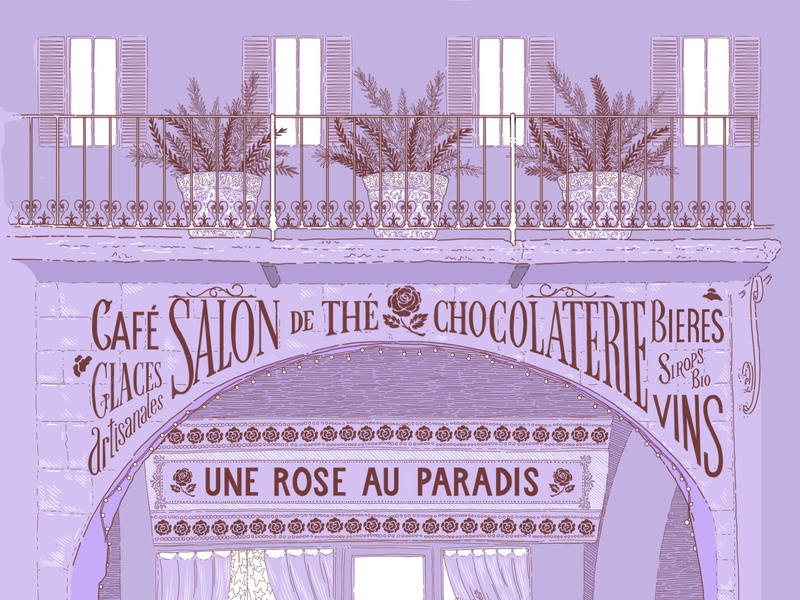 Salon De T salon tea purple colors flowers lettering typography lines illustrator illustration