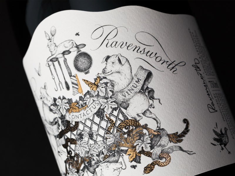 Ravensworth estate wine bottle graphic  design leaves lines typography engraving gold foil fun morbid quirky grotesque coat of arms illustration label wine