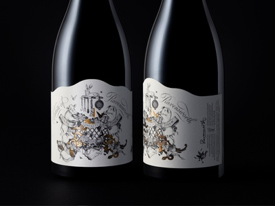Ravensworth Bottles foil gold ribbons wine bottle wine coat of arms animals leaves black and white lettering typography lines illustration