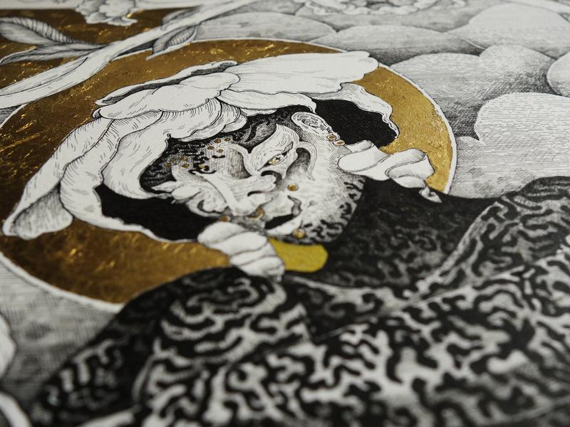 Headzoomlow life bloom gold goddess mandorla black and white rotring flowers lines illustration