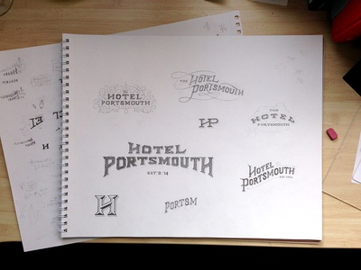Logo Studies sketchbook logos hand drawn hotel