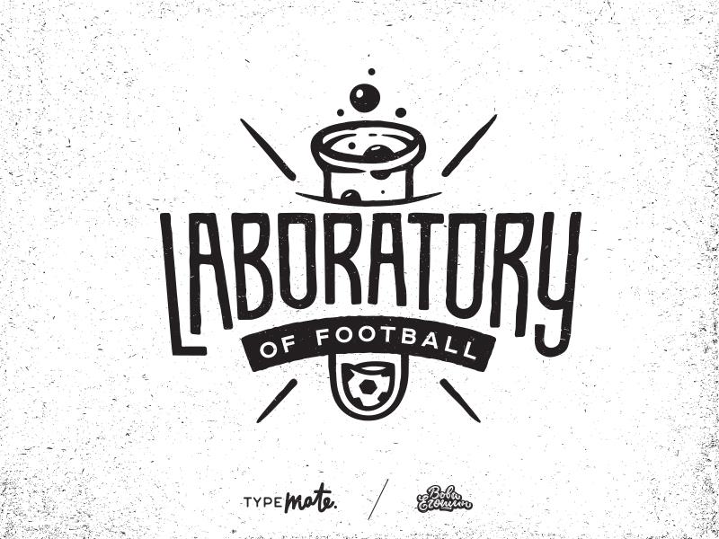 Laboratory of football typemate logo lettering typography branding typo customtype handlettering footbal soccer ball laboratory