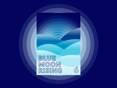 Blue Moon Rising poster a day poster typography vector print minimal illustration clean simple