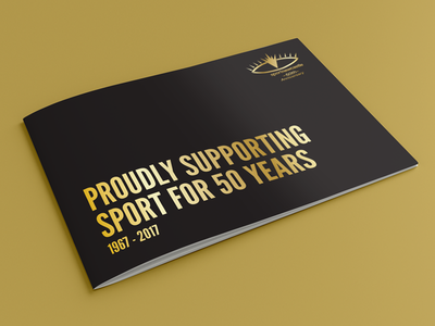 Sport Newcastle anniversary sport branding brochure gold simple event charity booklet print