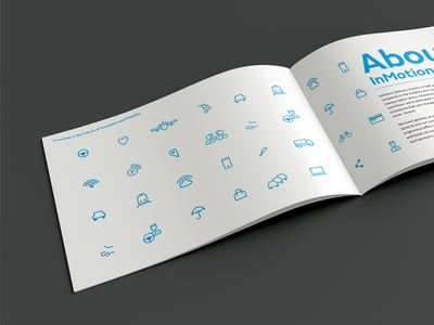 InMotion Spread layout icon blue minimal clean branding brochure simple event booklet print