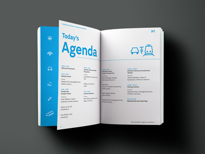 Inmotion layout icon blue minimal clean branding brochure simple event booklet print