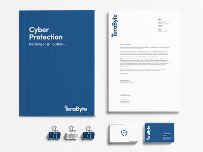 TeraByte Branding stationary logo tech clean simple blue branding brand