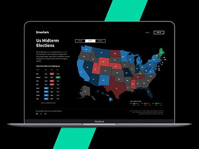 US Midterms map data politics clean ux minimal ui simple