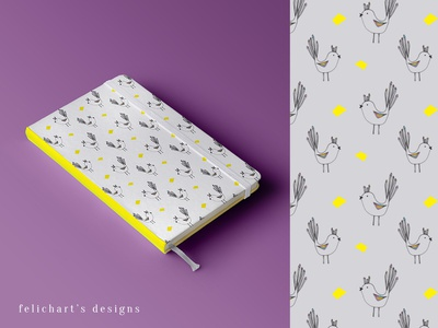 Lovely Birds Pattern notebook design yellow purple bird illustration bird line art illustration
