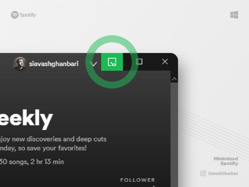 Minimized Spotify on Windows 10 minimal windows 10 ux music desktop spotify windows microsoft