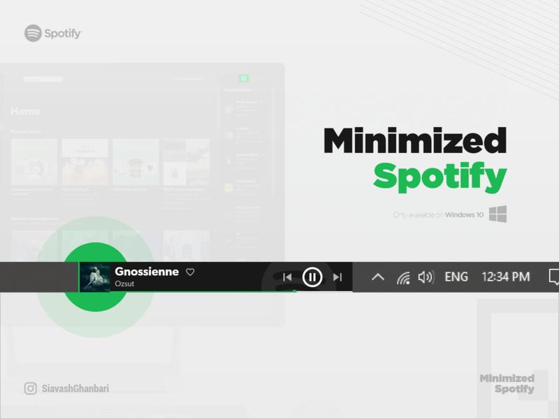 Minimized Spotify on Windows 10 minimal windows 10 ux music desktop spotify windows