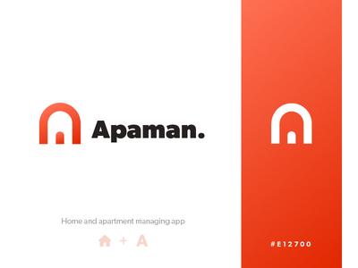 Apaman Logo application app door house home apartment logo design branding brand