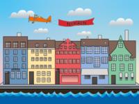 København Nyhavn Illustration (SchoolAssignment)