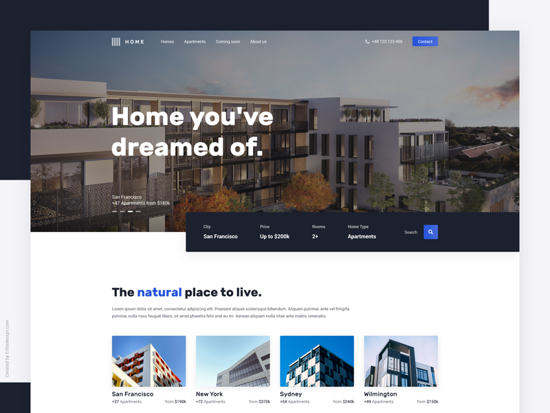 Apartment Home Concept real estate page design web search bar ui homepage layout apartment home