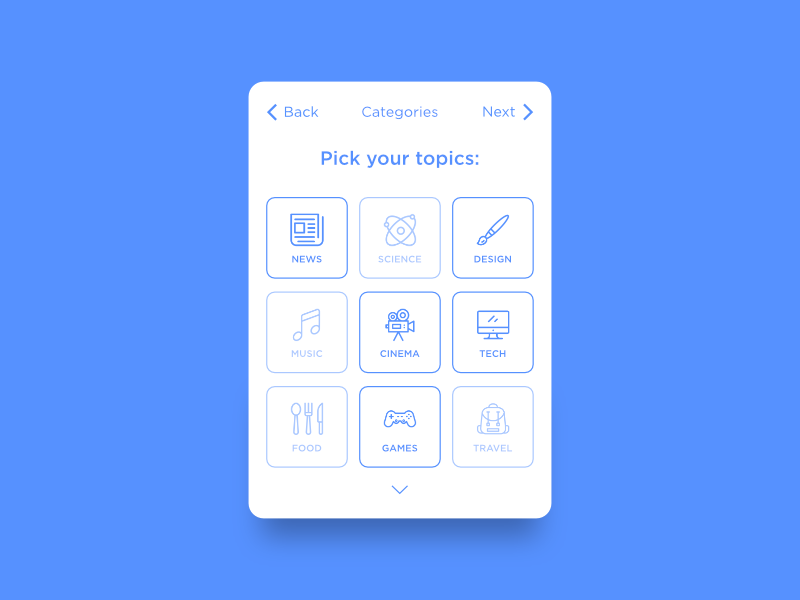Daily UI #099 - Categories interests favorites topics category categories ui ux dailyui daily