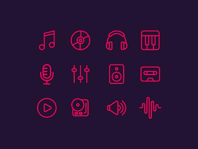🎵 Music Icons (Freebie) free freebie rounded line outline icon set icons media sound music