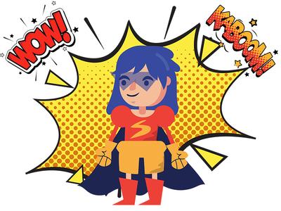 Super Hero 2D flat character