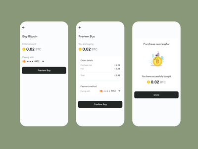 Purchase exchange flow crypto purchase bitcoin exchange crypto wallet cryptocurrency ui design product