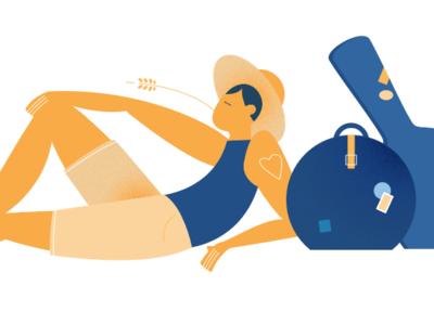 chillin' summer illustration journey bags travel man