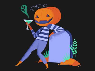 halloween pumpkin sipping design character illustration charachter design october31 illustrator illustrator cc halloween design halloween