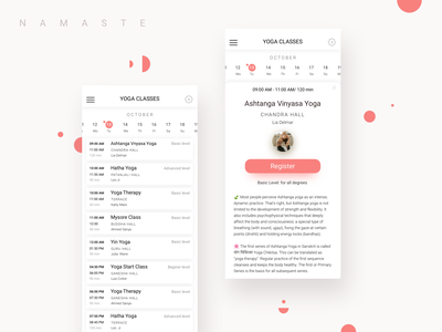 Yoga Studio App minimalistic design clear design mobile app design mobile apps inspiration mobile app uxui design uxui yoga studio yoga app schedule app application ui design app design ux ui