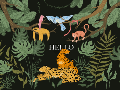 Jungle time debut debutshot first shot web hello dribbble animal illustration animals plants adventure leopard cat art jungle design illustration