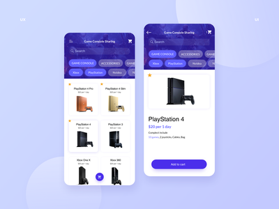 Game Console Sharing App inspiration playstation game console ecommerce app store mobile ux design ui design ui applications app