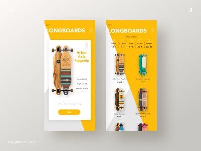 Skateboard Rental App user interface app design product page ux ui skateboard ios design ecommerce longboard app
