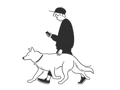 boy and dog dog boy doodle web design product design ux ui cartoon pencil simple design character design character black and white monochrome minimal line illustration comic