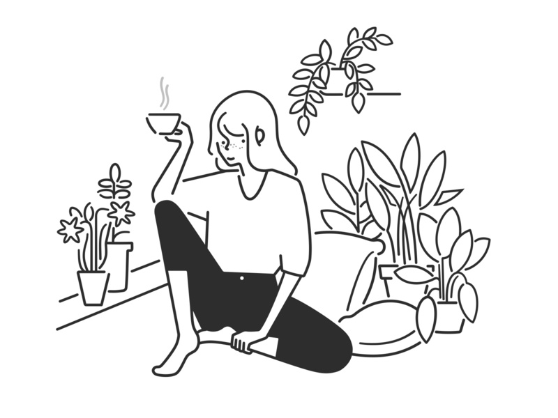 chilling at home plants relax home product design web design ui ux cartoon simple design girl character design character black and white monochrome minimal line illustration comic