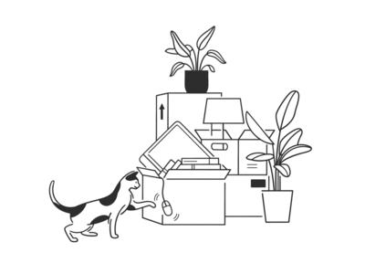 move doodle box plants home cartoon ui ux web design product design simple design dog cat black and white monochrome minimal line illustration comic move
