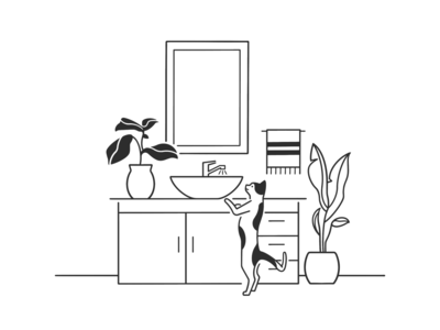 bathroom cute ink cartoon doodle simple plants product design web design ui ux home bathroom cat black and white monochrome minimal line illustration comic